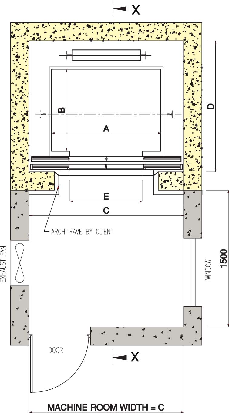 Home elevator dimensions - Center Opening
